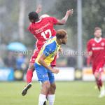 14-07-2017: Voetbal: SC Cambuur v Almere City FC: Leeuwarden (L-R)  Arsenio Valpoort (Almere City FC), Marvin Peersman (SC Cambuur) Oefenduel 2017 / 2018