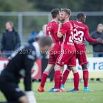 14-07-2017: Voetbal: SC Cambuur v Almere City FC: Leeuwarden (L-R) Nick van Hilten (Almere City FC), Adriaan Kruisheer (Almere City FC), Achille Vaarnold (Almere City FC) Oefenduel 2017 / 2018
