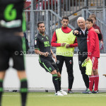 20-07-2017: Voetbal: SC  Almere City FC v Granada CF: Almere (L-R) Khalid Tadmine (Almere City FC),Jack de Gier - Technisch manager/Hoofdtrainer (Almere City FC), Anass Ahannach (Jong Almere City FC) Oefenduel 2017 / 2018