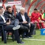 09-09-2017: Voetbal: Jong Almere City FC v Scheveningen: Almere (L-R) Ivar van Dinteren - Hoofdtrainer (Jong Almere City FC), Jason Oost - assistent Trainer (Jong Almere City FC), Herman Koster - Team manager (Jong Almere City FC) 3de divisie zaterdag 2017 / 2018