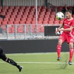 09-09-2017: Voetbal: Jong Almere City FC v Scheveningen: Almere (L-R) Jari de Jong (SVV Scheveningen), Khalid Tadmine (Jong Almere City FC) 3de divisie zaterdag 2017 / 2018