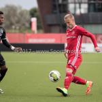 09-09-2017: Voetbal: Jong Almere City FC v Scheveningen: Almere (L-R) Gio van Ree (SVV Scheveningen), Khalid Tadmine (Jong Almere City FC) 3de divisie zaterdag 2017 / 2018