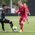 09-09-2017: Voetbal: Jong Almere City FC v Scheveningen: Almere (L-R) Gio van Ree (SVV Scheveningen), Silvester van der Water (Jong Almere City FC) 3de divisie zaterdag 2017 / 2018
