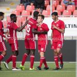 09-09-2017: Voetbal: Jong Almere City FC v Scheveningen: Almere (L-R) Anass Ahannach (Jong Almere City FC), Leeroy Owusu (Jong Almere City FC), Devechio Blackson (Jong Almere City FC), James Efmorfidis (Jong Almere City FC), Khalid Tadmine (Jong Almere City FC) 3de divisie zaterdag 2017 / 2018