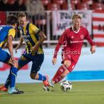 22-09-2017: Voetbal: Almere City FC v FC Oss: Almere (L-R) Ferry de Regt (FC Oss), Rick Stuy van de Herik (FC Oss), Jeffrey Rijsdijk (Almere City FC) Jupiler League 2017 / 2018