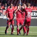 23-09-2017: Voetbal: Jong Almere City FC v Jong FC Groningen: Almere (L-R) Khalid Tadmine (Jong Almere City FC), James Efmorfidis (Jong Almere City FC), Nicky van Hilten (Jong Almere City FC), Silvester van der Water (Jong Almere City FC) 3de divisie zaterdag 2017 / 2018