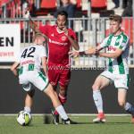23-09-2017: Voetbal: Jong Almere City FC v Jong FC Groningen: Almere (L-R) Gerald Postma (Jong FC Groningen), Khalid Tadmine (Jong Almere City FC) 3de divisie zaterdag 2017 / 2018