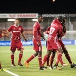 06-10-2017: Voetbal: Almere City FC v MVV Maastricht: Almere (L-R) Arsenio Valpoort (Almere City FC)., Achille Vaarnold (Almere City FC) Jupiler League 2017 / 2018