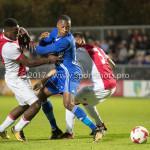 16-10-2017: Voetbal: Jong Ajax v Almere City FC: Amsterdam (L-R) Deyovaisio Zeefuik (Jong Ajax), Arsenio Valpoort (Almere City FC), Darren Sidoel (Jong Ajax) Jupiler League 2017 / 2018