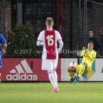 16-10-2017: Voetbal: Jong Ajax v Almere City FC: Amsterdam (L-R) Charlie Telfer (Almere City FC), Daley Sinkgraven (Jong Ajax), Chiel Kramer (Almere City FC) Jupiler League 2017 / 2018