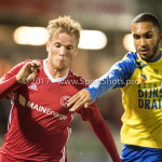 20-10-2017: Voetbal: Almere City FC v SC Cambuur: Almere (L-R) Jeffrey Rijsdijk (Almere City FC), Marvin Peersman (SC Cambuur) Jupiler League 2017 / 2018