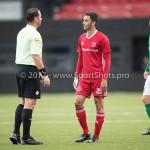 18-11-2017: Voetbal: Jong Almere City v VVOG: Almere (L-R) F.E. ter Brake (Scheidsrechter) Khalid Tadmine (Jong Almere City FC) 3de divisie zaterdag 2017 / 2018