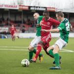 18-11-2017: Voetbal: Jong Almere City v VVOG: Almere (L-R) Wesley de Klein (VVOG), Kenneth Aninkora (Jong Almere City FC), Jeffrey Snijders (VVOG) 3de divisie zaterdag 2017 / 2018