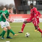 18-11-2017: Voetbal: Jong Almere City v VVOG: Almere (L-R) Jeffrey Snijders (VVOG), Kenneth Aninkora (Jong Almere City FC) 3de divisie zaterdag 2017 / 2018