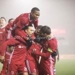 22-12-2017: Voetbal: Almere City FC v FC Eindhoven: Almere (L-R) Gaston Salasiwa (Almere City FC), Arsenio Valpoort (Almere City FC), Jerge Hoefdraad (Almere City FC), Tom Overtoom (Almere City FC) Jupiler League 2017 / 2018