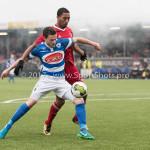 13-01-2018: Voetbal: Jong Almere City v Spakenburg: Almere (L-R) Guido van Rijn (SV Spakenburg), Sherjill Mac-Donalds (Jong Almere City FC) 3de divisie zaterdag 2017 / 2018