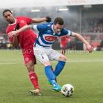 13-01-2018: Voetbal: Jong Almere City v Spakenburg: Almere (L-R)  Sherjill Mac-Donalds (Jong Almere City FC), Guido van Rijn (SV Spakenburg) 3de divisie zaterdag 2017 / 2018