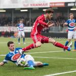 13-01-2018: Voetbal: Jong Almere City v Spakenburg: Almere (L-R) Guido van Rijn (SV Spakenburg), James Efmorfidis (Jong Almere City FC) 3de divisie zaterdag 2017 / 2018