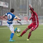 13-01-2018: Voetbal: Jong Almere City v Spakenburg: Almere (L-R) Guido van Rijn (SV Spakenburg), Khalid Tadmine (Jong Almere City FC) 3de divisie zaterdag 2017 / 2018
