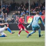 13-01-2018: Voetbal: Jong Almere City v Spakenburg: Almere (L-R) Barry Beijer (SV Spakenburg), James Efmorfidis (Jong Almere City FC), goalkeeper Leon ter Wielen (SV Spakenburg) 3de divisie zaterdag 2017 / 2018