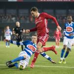 13-01-2018: Voetbal: Jong Almere City v Spakenburg: Almere (L-R) Jasper Beekhuis (SV Spakenburg),  Nicky van Hilten (Jong Almere City FC) 3de divisie zaterdag 2017 / 2018