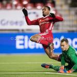 19-01-2018: Voetbal: Almere City FC v NEC: Almere (L-R) Jerge Hoefdraad (Almere City FC) 1-0, goalkeeper Joris Delle (NEC) Jupiler League 2017 / 2018
