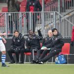 20-01-2018: Voetbal: Almere City FC O17 v De Graafschap O17: Almere .(L-R) aklm99, Kofi Mensah - Assistant trainer (Almere City FC O17)