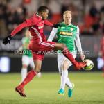 02-02-2018: Voetbal: Almere City FC v FC Dordrecht: Almere (L-R) Arsenio Valpoort (Almere City FC), Daniel Breedijk (FC Dordrecht) Jupiler League 2017 / 2018