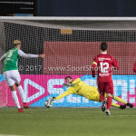 02-02-2018: Voetbal: Almere City FC v FC Dordrecht: Almere (L-R) Jafar Arias (FC Dordrecht), goalkeeper Chiel Kramer (Almere City FC) penalty 0-1 Jupiler League 2017 / 2018
