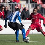 24-02-2018: Voetbal: Jong Almere City v Quick Boys: Almere (L-R) Kelvin Maynard (Quick Boys), Achille Vaarnold (Jong Almere City FC) 3de divisie zaterdag 2017 / 2018