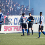 24-02-2018: Voetbal: Jong Almere City v Quick Boys: Almere (L-R) Delano a Cohen (Quick Boys), D. Schaper (Scheidsrechter) 3de divisie zaterdag 2017 / 2018