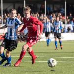 24-02-2018: Voetbal: Jong Almere City v Quick Boys: Almere (L-R) Tim Bloemendaal (Quick Boys), Mitchel Bergkamp (Jong Almere City FC) 3de divisie zaterdag 2017 / 2018