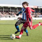 24-02-2018: Voetbal: Jong Almere City v Quick Boys: Almere (L-R) Kelvin Maynard (Quick Boys), Mink Peeters (Jong Almere City FC) 3de divisie zaterdag 2017 / 2018