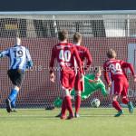 24-02-2018: Voetbal: Jong Almere City v Quick Boys: Almere (L-R) Jesse van Nieuwkerk (Quick Boys), Mike Grim (Jong Almere City FC) 3de divisie zaterdag 2017 / 2018