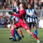 24-02-2018: Voetbal: Jong Almere City v Quick Boys: Almere (L-R) Anthony Bentem (Quick Boys), Jelle Goselink (Jong Almere City FC) 3de divisie zaterdag 2017 / 2018