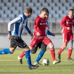 24-02-2018: Voetbal: Jong Almere City v Quick Boys: Almere (L-R) Anthony Bentem (Quick Boys), Sam Krant (Jong Almere City FC) 3de divisie zaterdag 2017 / 2018