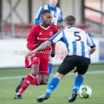 24-02-2018: Voetbal: Jong Almere City v Quick Boys: Almere (L-R) Achille Vaarnold (Jong Almere City FC)m Joey Ravensbergen (Quick Boys) 3de divisie zaterdag 2017 / 2018