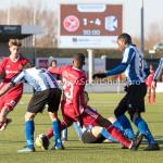 24-02-2018: Voetbal: Jong Almere City v Quick Boys: Almere (L-R) Joey Ravensbergen (Quick Boys), Achille Vaarnold (Jong Almere City FC), Kelvin Maynard (Quick Boys) 3de divisie zaterdag 2017 / 2018