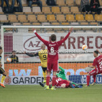 13-05-2018: Voetbal: Roda JC v Almere City FC: Kerkrade (L-R) Dani Schahin (Roda JC), Damon Mirani (Almere City FC), goalkeeper Chiel Kramer (Almere City FC), Gaston Salasiwa (Almere City FC) Jupiler League halve finale play-offs 2017 / 2018