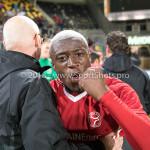 13-05-2018: Voetbal: Roda JC v Almere City FC: Kerkrade (L-R) Sjouke Tel - Loop & hersteltrainer (Almere City FC), Leeroy Owusu (Almere City FC) Jupiler League halve finale play-offs 2017 / 2018