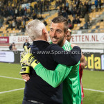13-05-2018: Voetbal: Roda JC v Almere City FC: Kerkrade Almere City FC Celebrating, (L-R) Jack de Gier - Technisch manager/Hoofdtrainer (Almere City FC), goalkeeper Chiel Kramer (Almere City FC) Jupiler League halve finale play-offs 2017 / 2018