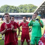 20-05-2018: Voetbal: De Graafschap v Almere City FC: Doetinchem (L-R) Ezra Walian (Almere City FC), Mink Peeters (Jong Almere City FC), goalkeeper Chiel Kramer (Almere City FC) Jupiler League finale play-offs 2017 / 2018